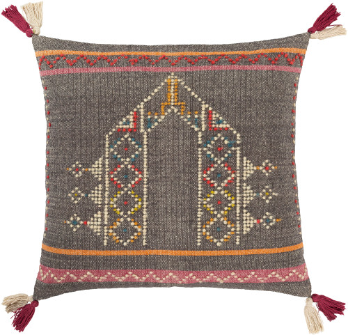 """20"""" Cedar Brown and Beige Square Throw Pillow - Poly Filled - IMAGE 1"""