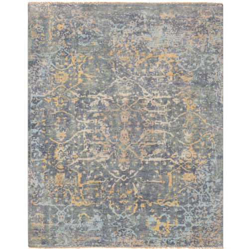2' x 3' Oriental Patterned Green and Yellow Hand Knotted Rectangular Area Throw Rug - IMAGE 1