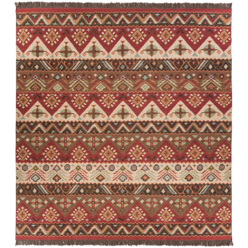 10' x 10' Transitional Style Red and Brown Square Area Throw Rug - IMAGE 1