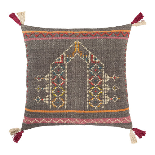 "20"" Gray Embroidered Square Throw Pillow with Tassels - Down Filled - IMAGE 1"