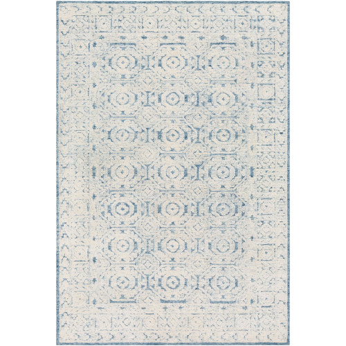 4' x 6' Hexagon Patterned Blue and White Rectangular Area Rug - IMAGE 1