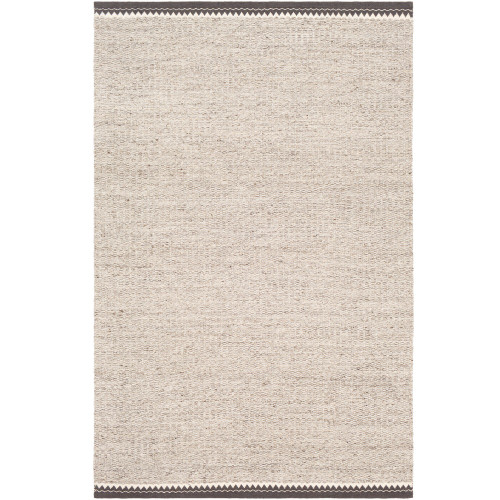 6' x 9' Beige and Brown Rectangular Hand Woven Area Rug with Chevron Bordered Pattern - IMAGE 1