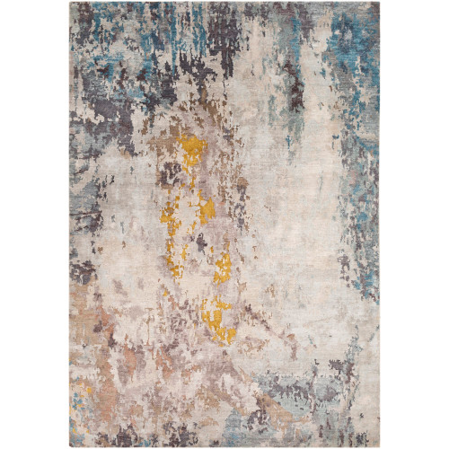 8' x 11' Distressed Finish Beige and Blue Rectangular Area Throw Rug - IMAGE 1