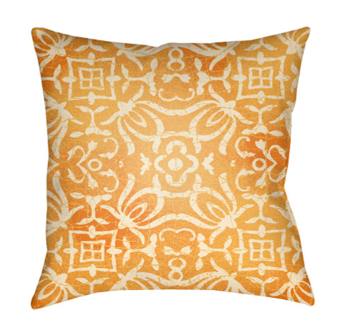 """18"""" Orange and Ivory Digitally Printed Square Throw Pillow Cover - IMAGE 1"""