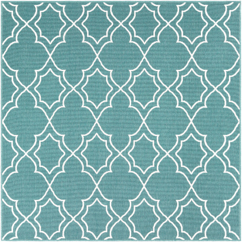 "8'9"" Trellis Patterned Teal and White Square Olefin Area Throw Rug - IMAGE 1"