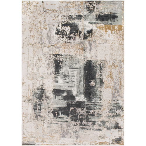 2' x 3' Distressed Finish Beige and Charcoal Black Rectangular Polypropylene Area Throw Rug - IMAGE 1