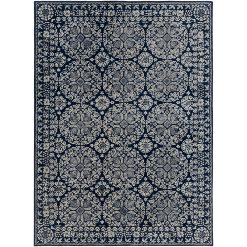 10' x 14' Transitional Style Navy Blue and Gray New Zealand Wool Rectangular Area Throw Rug - IMAGE 1