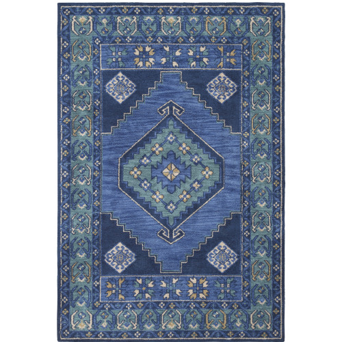 4' x 6' Southwestern Medallion Blue and Teal Rectangular Polyester Area Throw Rug - IMAGE 1