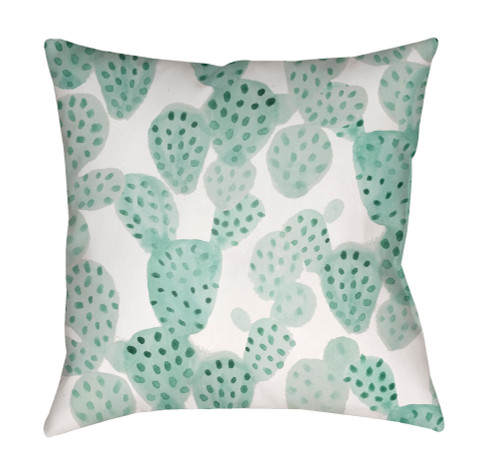 """18"""" White and Green Square Throw Pillow Cover with Knife Edge - IMAGE 1"""