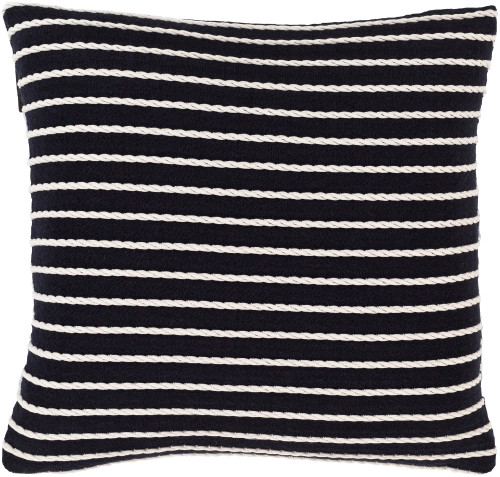 """22"""" Navy Blue and White Striped Square Throw Pillow - Down Filler - IMAGE 1"""