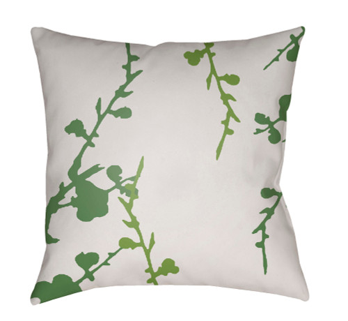 """20"""" Olive Green and White Floral Square Throw Pillow Cover with Knife Edge - IMAGE 1"""