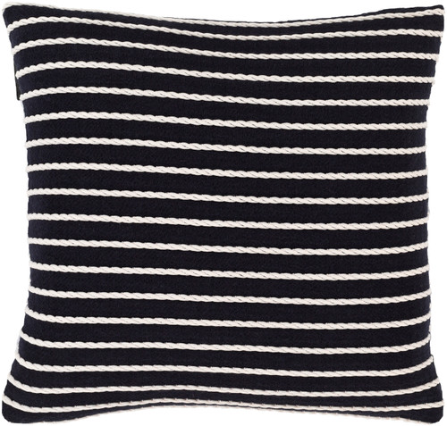 "18"" Navy Blue and White Striped Square Throw Pillow - Down Filled - IMAGE 1"