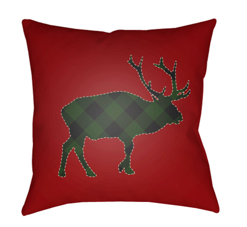 """18"""" Red and Green Buffalo Printed Square Throw Pillow Cover - IMAGE 1"""
