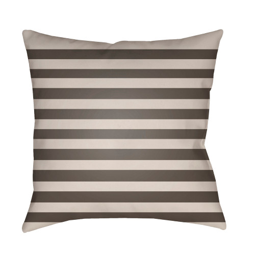 """18"""" Brown and Beige Striped Square Throw Pillow Cover - IMAGE 1"""