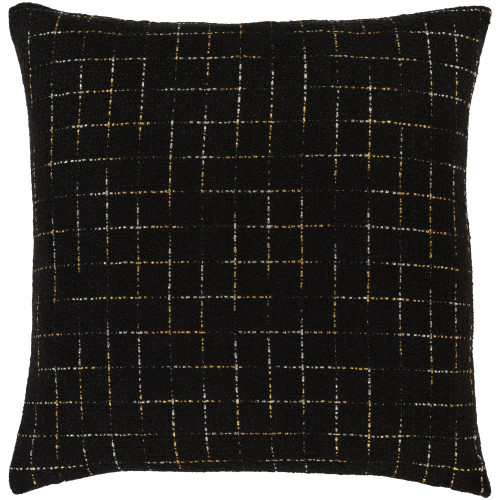 """22"""" Black and Gold Geometric Patterned Square Throw Pillow - Polyester Filler - IMAGE 1"""