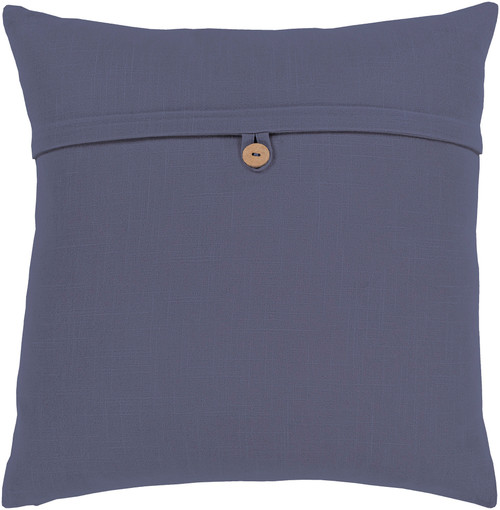 "18"" Navy Blue Solid Square Throw Pillow with Knife Edge - Poly Filled - IMAGE 1"