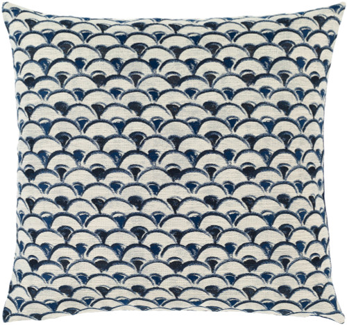 """18"""" Blue and White Jacquard Pattern Square Throw Pillow with Knife Edge - Poly Filled - IMAGE 1"""
