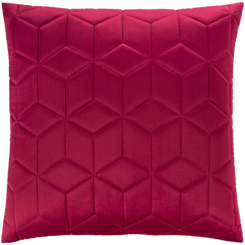 "20"" Red Geometric Square Throw Pillow with Knife Edge - Down Filler - IMAGE 1"