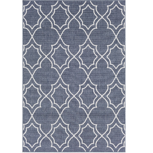 3.5' x 5.5' Moroccan Pattern Blue and White Rectangular Area Throw Rug - IMAGE 1
