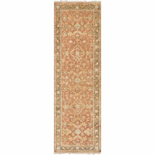 3' x 12' Traditional Style Brown and Sage Green New Zealand Wool Area Throw Rug Runner - IMAGE 1
