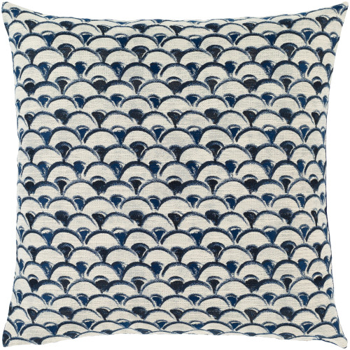 """20"""" Blue and White Meander Pattern Square Throw Pillow Cover - IMAGE 1"""
