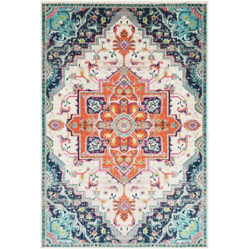 "6'7"" x 9'6"" Persian Medallion Design Orange and Blue Rectangular Machine Woven Area Rug - IMAGE 1"