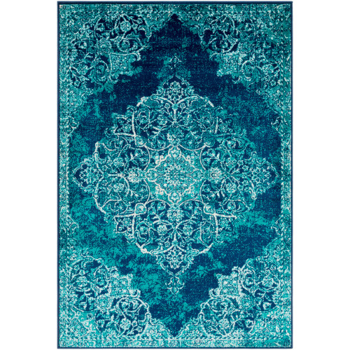 "6'7"" x 9'6"" Blue and Gray Mandala Pattern Rectangular Machine Woven Area Rug - IMAGE 1"