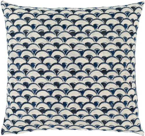 "22"" Blue and White Scales Patterned Square Throw Pillow - Down Filled - IMAGE 1"