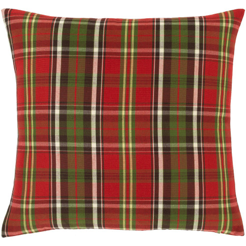 """18"""" Vibrantly Colored Plaid Pattern Square Woven Throw Pillow - Polyester Filler - IMAGE 1"""