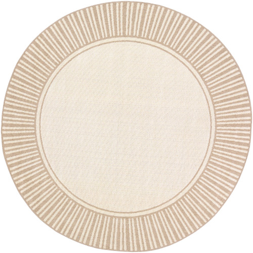 """5'3"""" Alfresco Beige and Brown Stripe Border Patterned Round Synthetic Area Throw Rug - IMAGE 1"""