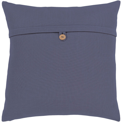 "18"" Navy Blue Solid Square Throw Pillow Cover with Knife Edge - IMAGE 1"