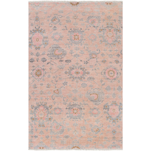 3' x 12' Floral Design Peach and Gray Rectangular Area Throw Rug Runner - IMAGE 1