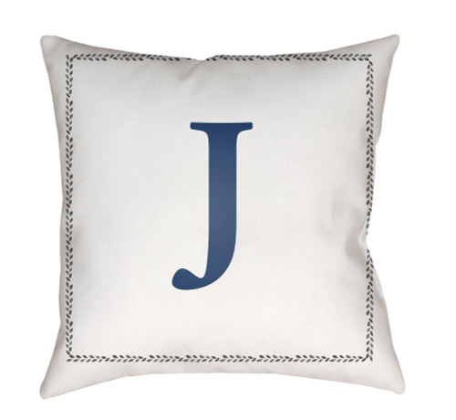 """18"""" Denim Blue and White """"J"""" Printed Square Throw Pillow Cover - IMAGE 1"""