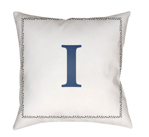 """18"""" Denim Blue and White """"I"""" Printed Square Throw Pillow Cover - IMAGE 1"""