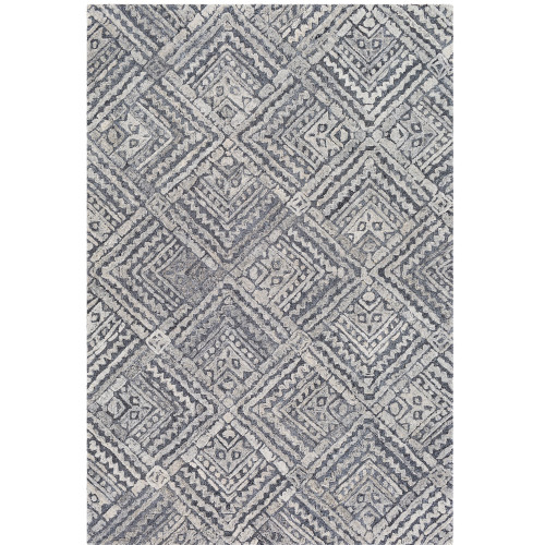 """5' x 7'6"""" Black and Beige Moroccan Diamond Patterned Rectangular Hand Tufted Area Rug - IMAGE 1"""