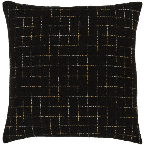 """22"""" Pitch Black and Gold Colored Square Throw Pillow - Down Filler - IMAGE 1"""