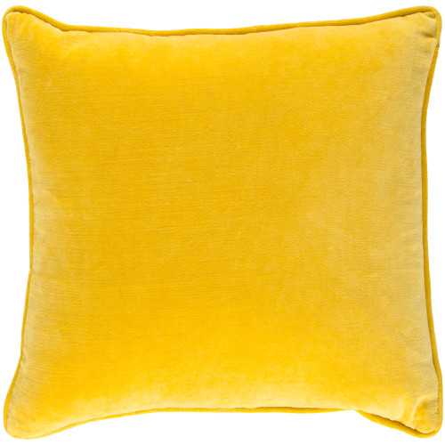"""18"""" Yellow Solid Square Throw Pillow Cover with Piping - IMAGE 1"""