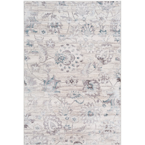 """5'3"""" x 7'6"""" Distressed Floral Silver Gray and White Rectangular Polyester Area Throw Rug - IMAGE 1"""