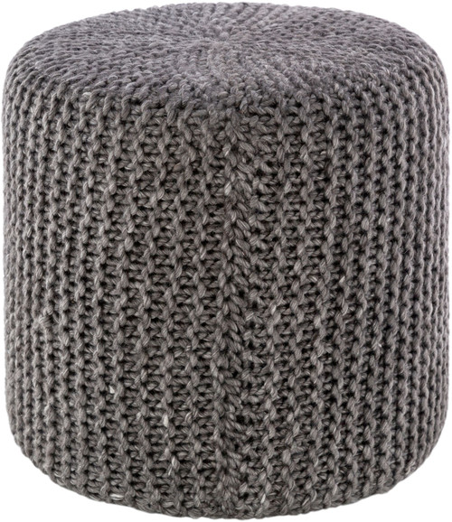 """18"""" Charcoal Gray Knitted Style Cylindrical Pouf Ottoman - IMAGE 1"""