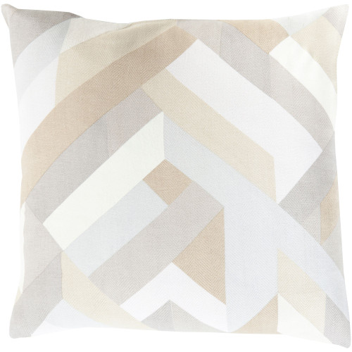 "20"" Beige and Cream White Contemporary Square Throw Pillow Cover - IMAGE 1"