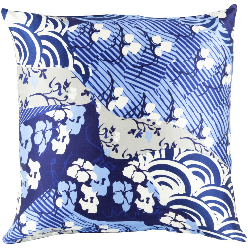 """22"""" Blue and White Contemporary Square Throw Pillow Cover - IMAGE 1"""