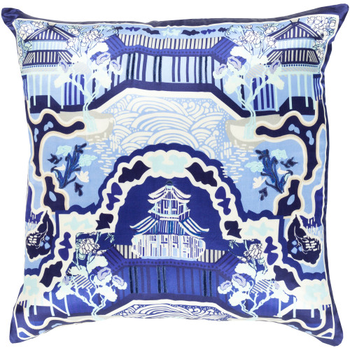 "22"" Blue and White Oriental Square Throw Pillow Cover - IMAGE 1"