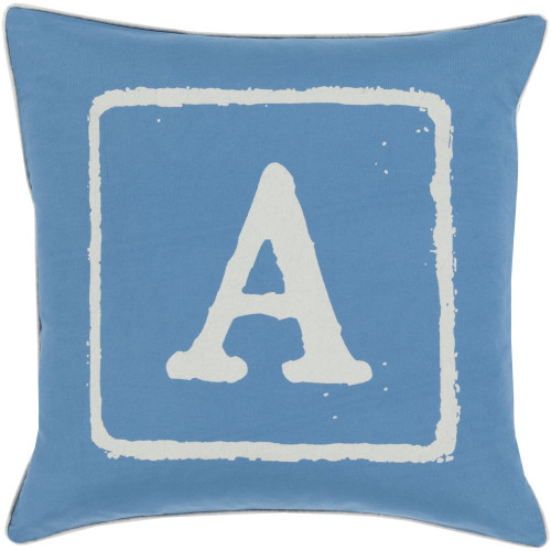 """22"""" Blue and Ivory """"A"""" Printed Square Throw Pillow Cover - IMAGE 1"""