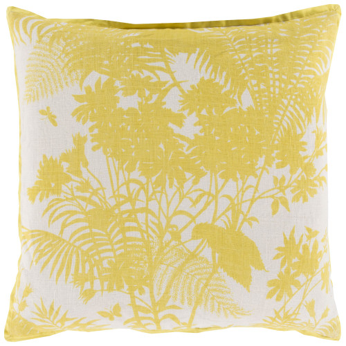 "20"" Yellow and Beige Floral Square Throw Pillow Cover - IMAGE 1"