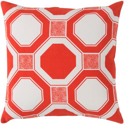 "20"" Orange and Cream White Geometric Square Throw Pillow Cover - IMAGE 1"