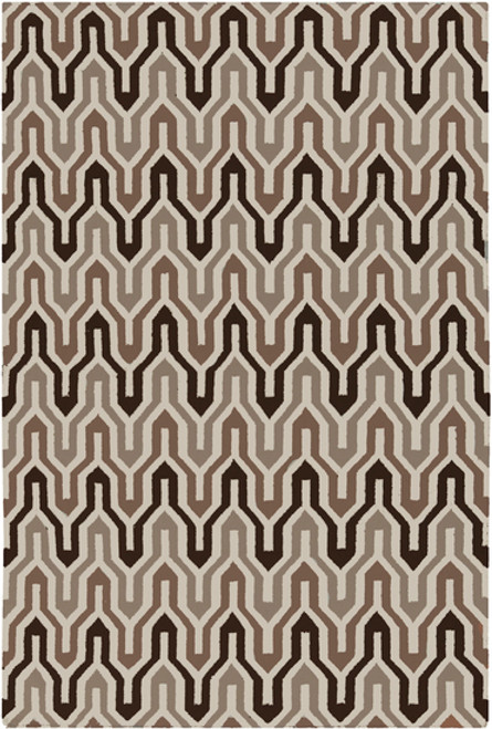 1.5' x 1.5' Brown and White Hand Woven Square Wool Area Throw Rug Corner Sample - IMAGE 1