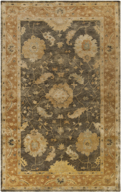 1.5' x 1.5' Yellow and Black Floral Hand Tufted Square Area Throw Rug - IMAGE 1
