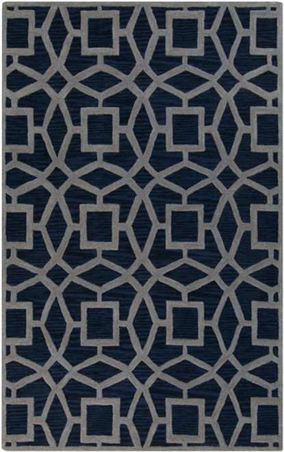 1.5' x 1.5' Blue and Gray Hand Tufted Square New Zealand Wool Area Throw Rug Corner Sample - IMAGE 1