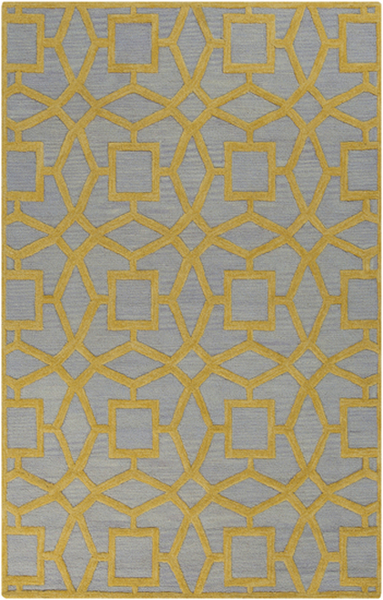1.5' x 1.5' Mustard Yellow and Gray Hand Tufted Square New Zealand Wool Area Throw Rug Corner Sample - IMAGE 1
