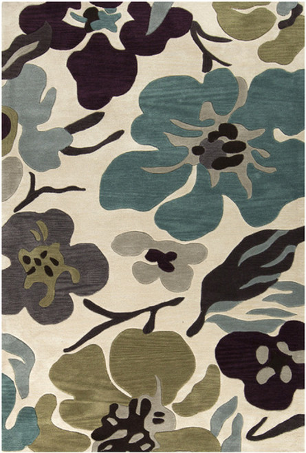 1.5' x 1.5' Profusion Flower Taupe, Teal and Gray Area Throw Rug Corner Sample - IMAGE 1